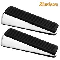 Shackcom Door Stopper 2 Pack, Heavy Duty Decorative Door Stop Wedge, Non Scratching Door Stops, Made of Rubber and Zinc Alloy, Easy to Insert, Suits Any Floor for Home and Office (Bright Color)