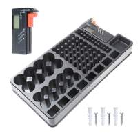 YXQ Battery Organizer Storage Case w Tester-110 Batteries Holder Box for AAA, AA, 9V, C, D and Button Battery