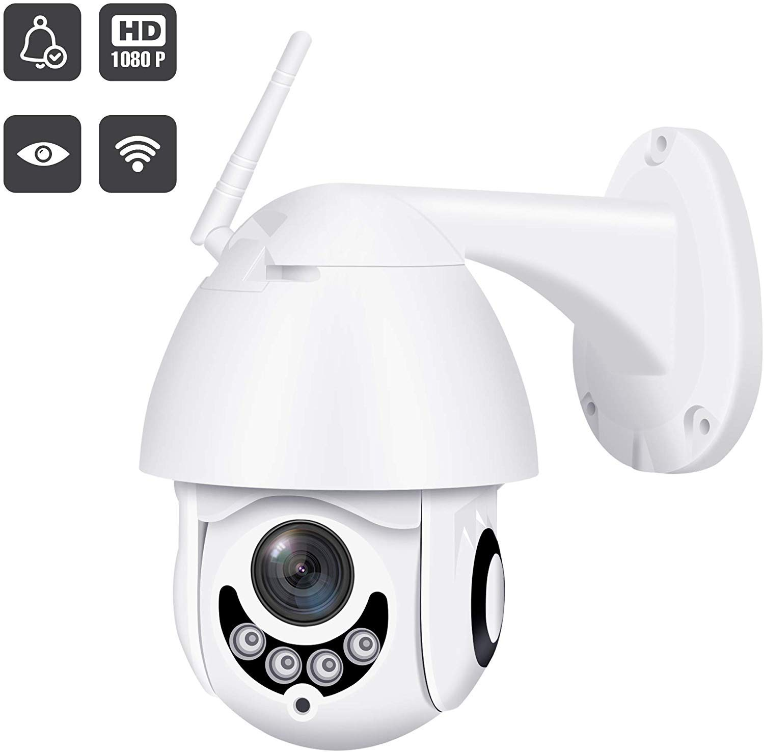 2019 Upgraded Full HD 1080P Security Surveillance Cameras Outdoor Waterproof Wireless PTZ Camera with Night Vision - IP WiFi Cam Surveillance Cam Audio Motion Activated (Pearl White)
