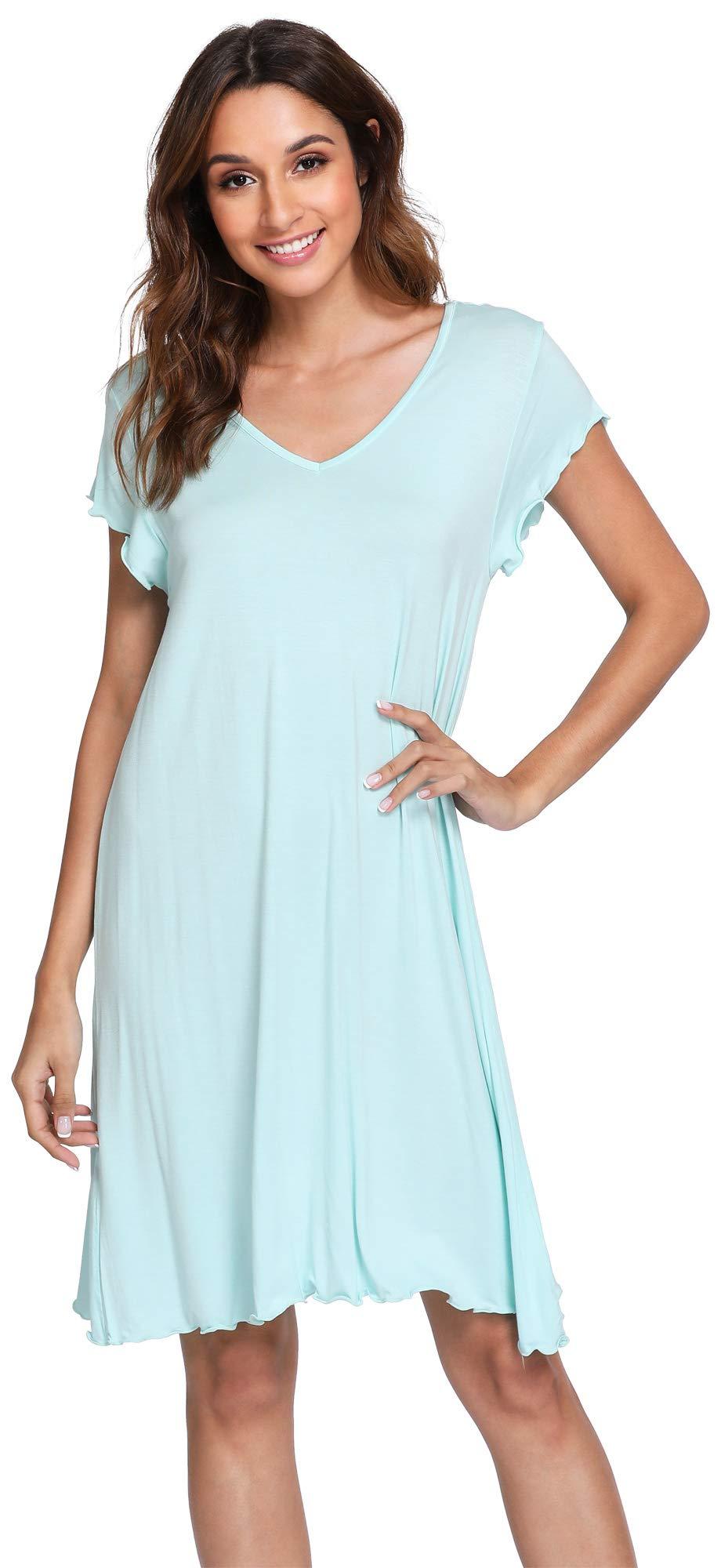 WiWi Women's Bamboo Soft Nightgown Sleepwear Short Sleeves Lightweight Nightwear Plus Size Sleep Shirts S-4X