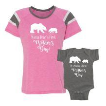 We Match! - Mama Bear's First Mother's Day - Matching Women's Football Slub T-Shirt & Baby Bodysuit Set