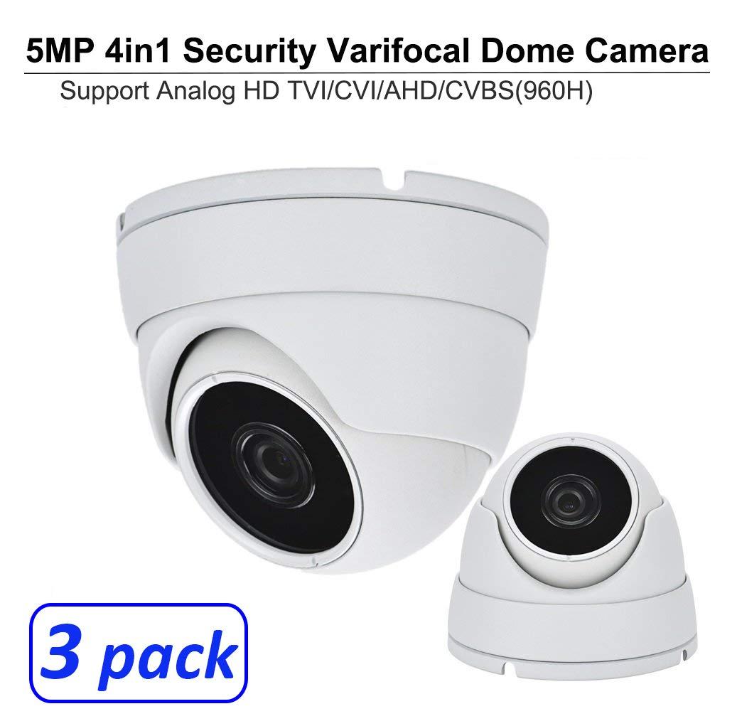 101AV 5 Megapixel 4in1 TVI/AHD/CVI/CVBS(960H) 2.8-12mm Lens Security Surveillance Dome Camera DWDR IR Cut OSD menu for Indoor Outdoor CCTV Home Office (White) (3 Pack)