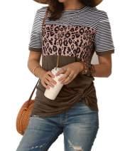 Women's Summer Casual Short Sleeve Shirts Leopard Print Stripe Twist Knot Color Block Tunic T Shirt Tops