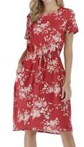 Women Short Sleeve Floral Print Casual Loose Pockets Midi Dress with Belt Red S