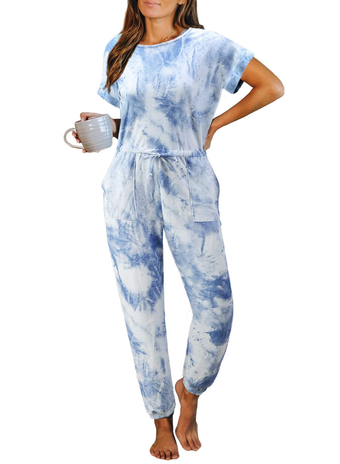 Elapsy Womens Tie Dye Printed Long Pajamas Set Keyhole Short Sleeve PJ Sets Jumpsuit Nightwear Loungewear