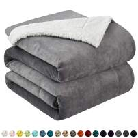 """Walensee Sherpa Fleece Blanket (Queen Size 90""""x90"""" Grey) Plush Throw Fuzzy Super Soft Reversible Microfiber Flannel Blankets for Couch, Bed, Sofa Ultra Luxurious Warm and Cozy for All Seasons"""