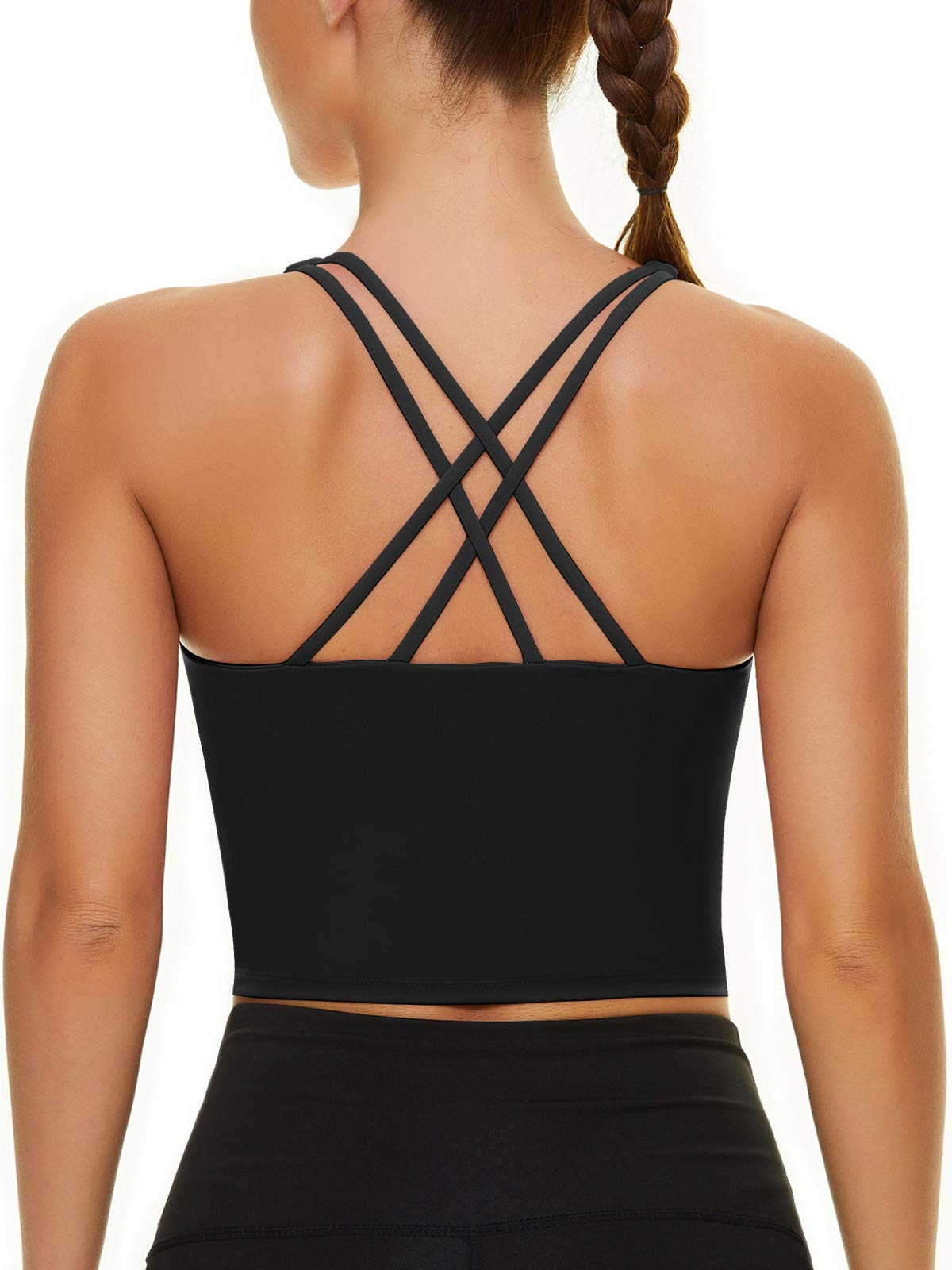 Strappy Sports Bra for Women Longline Crop Tank Tops Yoga Workout Camisole Shirts Built in Bra