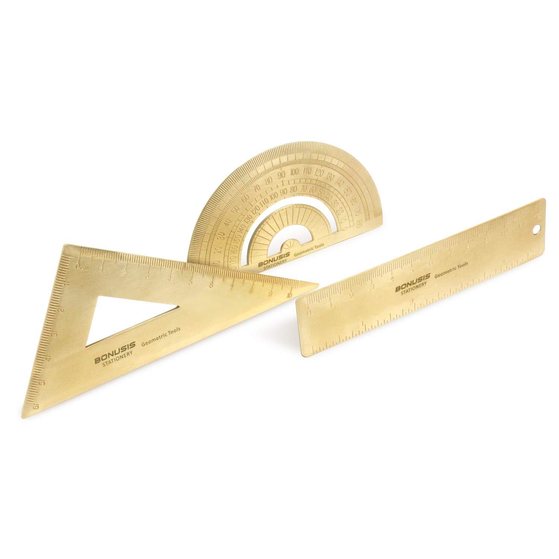 BONUSIS Vintage 12cm Brass Straight Ruler, Triangle Ruler, Protractor, Geometry Set, Copper Bookmark for Traveler Office School Supplies