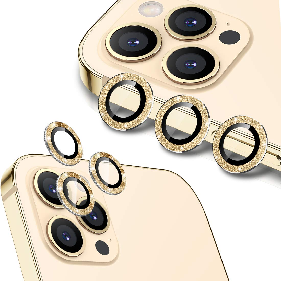 Wsken for iPhone 12 Pro Max (6.7 inch) Camera Lens Protector, Glitter HD Tempered Glass Aluminum Alloy Lens Screen Stiker Cover Film - Sparkling Gold