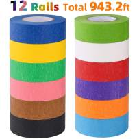 Colored Masking Tape, Rainbow Colors Painters Tape Colorful Craft Art Paper Tape for kids Labeling Arts Crafts DIY Decorative Coding Decoration Teaching Supplies, 12 Rolls, 1 Inch Wide x26.2Yards Long