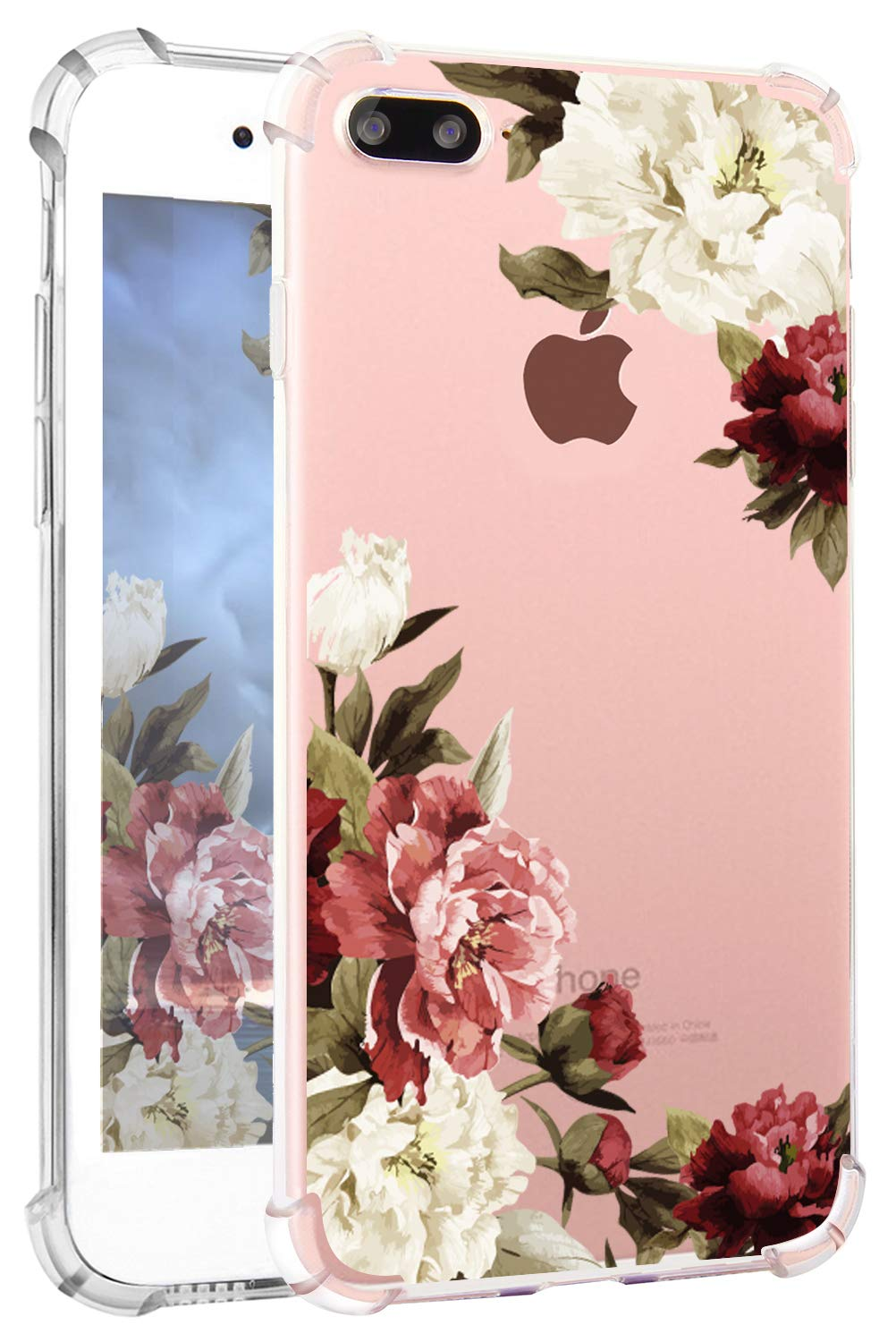 Hepix iPhone 8 Plus Floral Case iPhone 7 Plus Case Clear Soft Flexible TPU Watercolor Flowers Floral Print Phone Cover with Bumper for iPhone 7 Plus