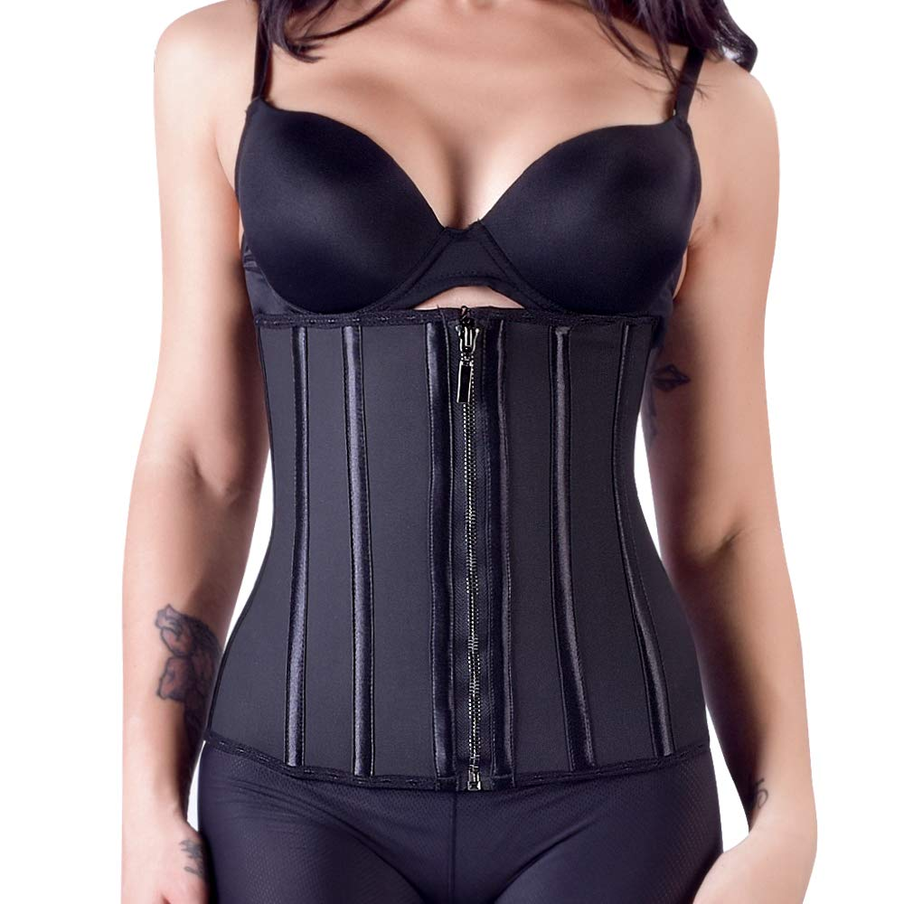 Ebinbum Women Waist Trainer Natural Latex Corset 13 Steel Boned Waist Cincher 3 Rows Hooks with Zipper