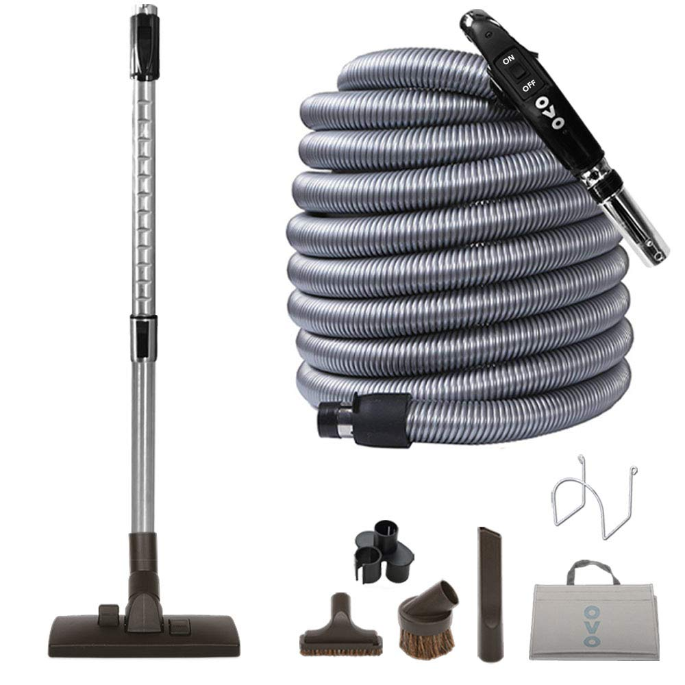 Ovo KIT-LV30S-OVO Central Vacuum Hardwood Brush Cleaning Tools Attachment Kit Tile Floors and Hard Surfaces - Switch Control Crushproof Hose, 30ft, Black and grey