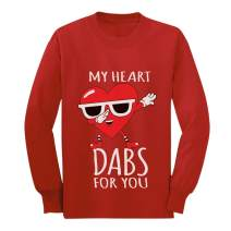 My Heart Dabs for You Valentine's Day Funny Youth Kids Long Sleeve T-Shirt