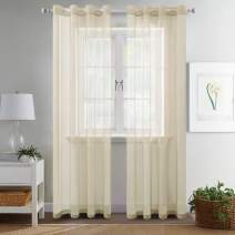 MIULEE 2 Panels Solid Color Beige Sheer Curtains Elegant Grommet Window Voile Panels/Drapes/Treatment for Bedroom Living Room (54X84 Inch)