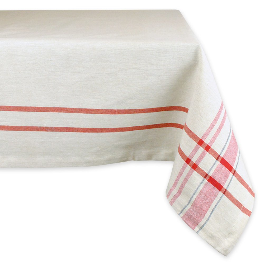 DII For Everyday Indoor/Outdoor Dining, Special Occasions or Dinner Parties, Machine Washable, 60 x 104, Taupe w/Red Stripes