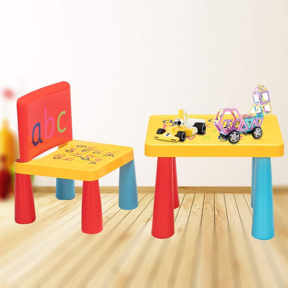 JOYBASE Kids Plastic Table and Chair Set, Printed with Letters, Safety Mushroom Legs, Made of Environmentally Friendly pp and pe Materials, for Meal/Reading/Painting/Art Activity