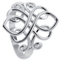 Unique Celtic Rhodium Plated Sterling Silver Ring