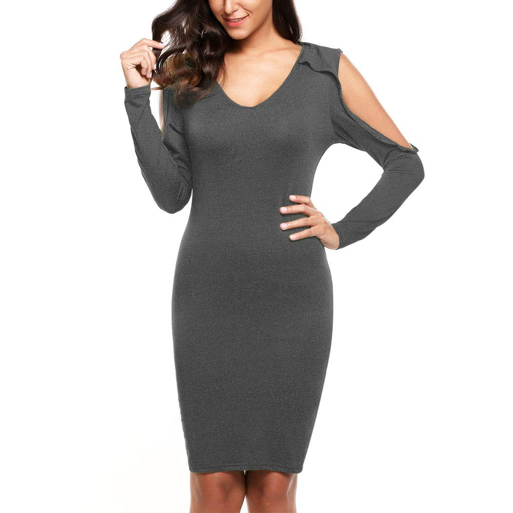 SoTeer Women's Cold Shoulder V Neck Sexy Cocktail Bodycon Party Midi Dress