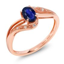 Gem Stone King 10K Rose Gold 0.49 Ct Blue Sapphire and Diamond Engagement Bypass Ring (Available 5,6,7,8,9)