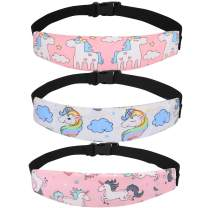 Accmor 3 Pack Baby Carseat Head Support Band Strap, Unicorn Band for Carseats Stroller Neck Relief Head Strap for Toddler Child Kids Infant(2 Pink+ 1 White Unicorn Pattern)