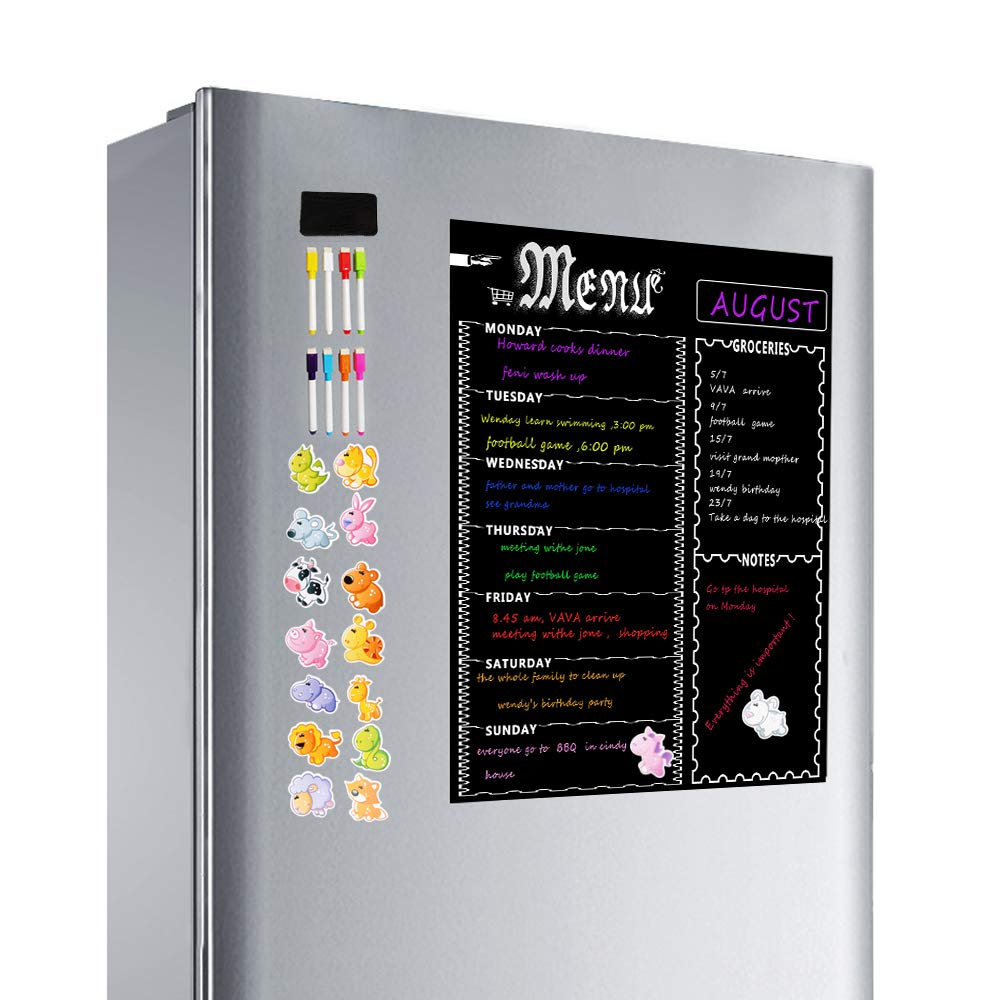 Magnetic Menu Board for Refrigerator, Dry Erase Weekly Meal Planner Board,Grocery List for Kitchen Fridge,Chalkboard Magnet Pad with 8 Color Magnetic Markers and 16 Animal Stickers
