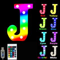 16 Color Changing Marquee Letter Light,Light Up Colorful 26 Alphabet Signs – Home Decor Name Signs – Battery Operated LED Remote Timer – Lighted Vintage Accessories & Decorations-J