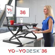 "Yo-Yo DESK 36 Height-Adjustable Standing Desk. Superior sit-Stand Solution Suitable for All workstations and Standing Desk workplaces. (Black, 36"")"