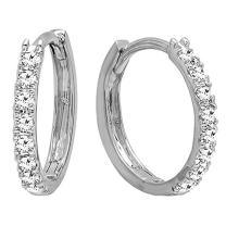 Dazzlingrock Collection 18K Gold Round White Diamond Ladies Huggies Hoop Earrings