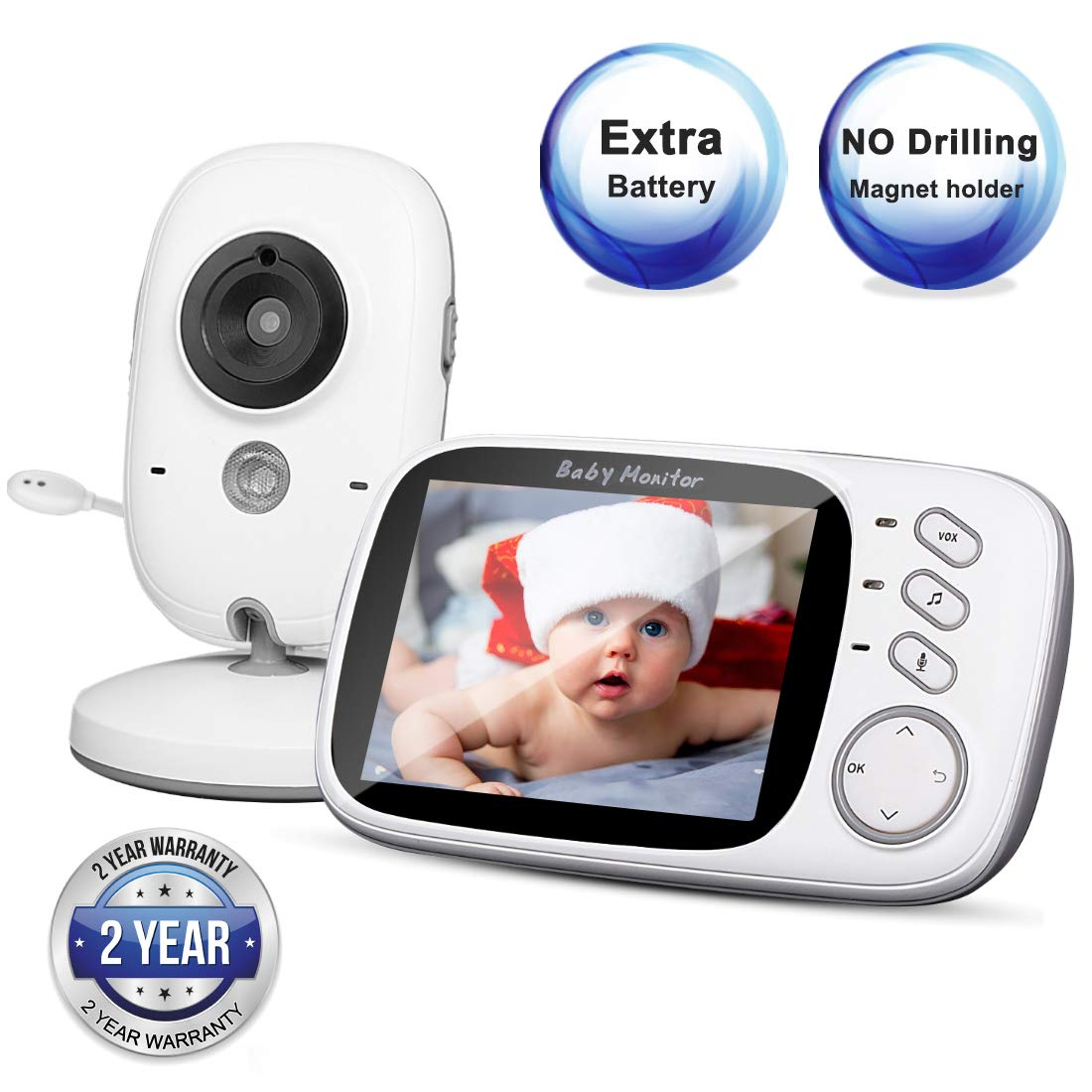 """Video Baby Monitor with Camera and Audio, 3.2"""" LCD Large Screen, Temperature Monitor with Night Vision, Two-Way Talk, VOX, No Drilling Magnet Holder, for Elderly/Pet/Baby/Nanny"""