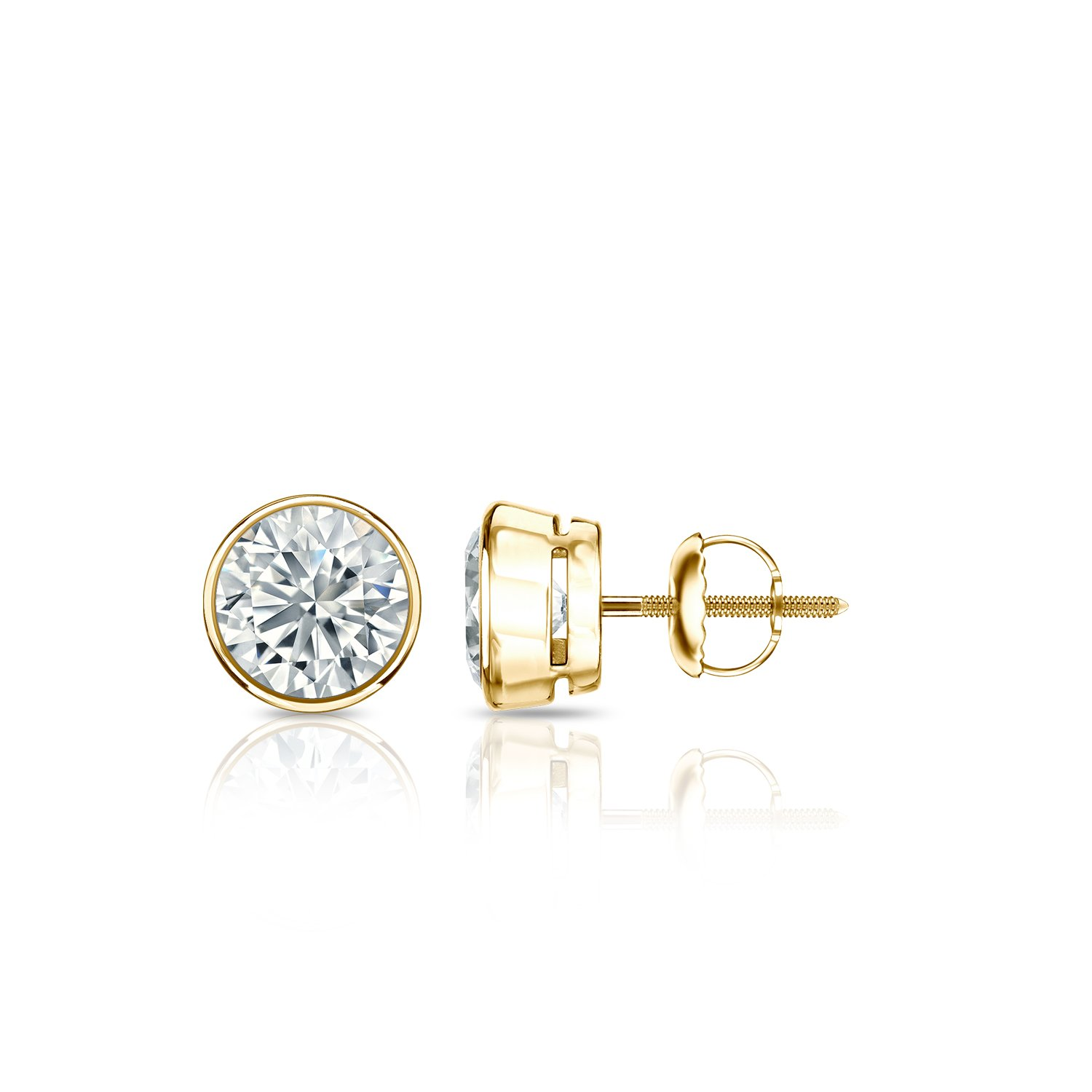14k Gold Round Diamond Stud Earrings (1/4 to 2cttw, G-H, SI1-SI2) Bezel set with Screw-backs Diamond Wish