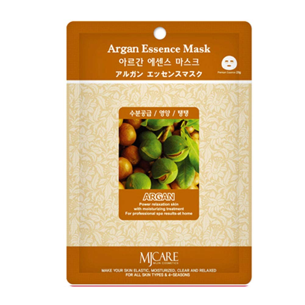 Pack of 14, The Elixir Beauty MJ Korean Cosmetic Full Face Collagen Argan Essence Mask Pack Sheet for Vitality, Clarity, Mosturizing, Relaxing