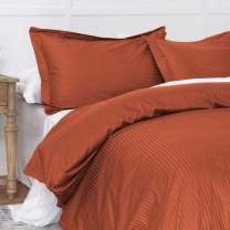 Duvet Cover Orange Twin, Classic Damask Pinstripe Pattern, 100% Long Staple Cotton 400TC with Silky & luxury Sateen Woven, Cool & Breathable, Luxury Royal Hotel Style Clean Look Duvet Cover