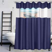 VCVCOO Waterproof Shower Curtains with Let Light Mesh Window, Extra Long Navy Blue Fabric Bath Curtains for Host Visitor Kids 72x78 Inch