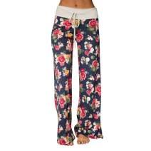 BROVAVE Women's Casual Floral Print Palazzo Pants Pajama Lounge Pants Wide Leg Drawstring
