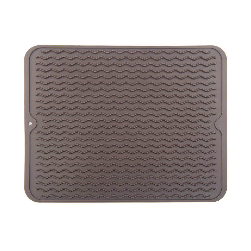 ZLR Silicone Dish Drying Mat Easy Clean Dishwasher Safe Heat Resistant Eco-Friendly Trivet Brown Large 15.8 inches X 12 inches