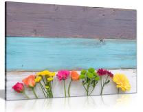 Colourful Spring Flowers Canvas Wall Art Picture Print (36x24in)