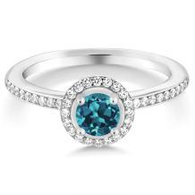 Gem Stone King 925 Sterling Silver London Blue Topaz Gemstone Birthstone Women's Ring 0.69 cttw (Available 5,6,7,8,9)