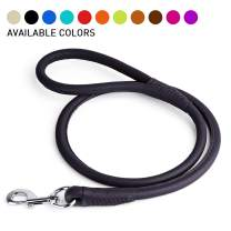 Dogline Rolled Leather Dog Leash - for Small, Medium and Large Breeds - Soft and Padded Lead Luxury Design
