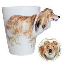 3D Coffee Dog Mug, Animals Personalized Tea Cup, Creative Hand Painted 3D Dog Mug, Gift for Lovers Kids Friends (Shetland Sheepdog)