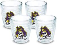 Tervis 1142640 East Carolina Pirates Cross Bones Logo Tumbler with Emblem 4 Pack 12oz, Clear