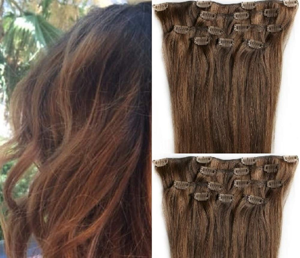 """Hair Faux You 22"""" Clip in Hair Extensions Real Human Hair 100g Clip on for Full Head 7 pieces, 14 clips, Silky Straight Weft Remy Hair Color #4/30 Brown Auburn"""