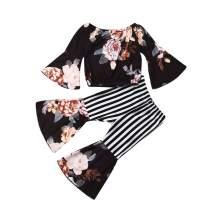 Bell Bottom Pants Little Girls Leopard Outfits Set Long Sleeve Floral Shirt+High Waist Pants Fall Winter Toddler Clothes