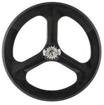 JIMAITEAM Carbon Fixed Gear 700c 3 Spoke Tri Spoke Single Speed Bike Rear & Front Wheel Set Fixie Bicycle Wheel Clincher Type 70mm Depth 23mm Width Track Bike Wheel