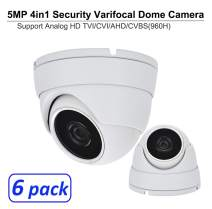 101AV 5 Megapixel 4in1 TVI/AHD/CVI/CVBS(960H) 2.8-12mm Lens Security Surveillance Dome Camera DWDR IR Cut OSD menu for Indoor Outdoor CCTV Home Office (White) (6 Pack)