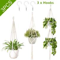 AerWo 3 Pack Macrame Plant Hangers Indoor Outdoor Hanging Plant Holder + 3 PCS Hooks, Handmade Hanging Planter Basket Stand for Boho Home Decor(4 Legs, 3 Sizes)
