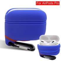 iCoolmate AirPods Pro Case Waterproof Upgraded Anti-Lost Dust-Free Silicon Protective Cover (Sapphire Blue)