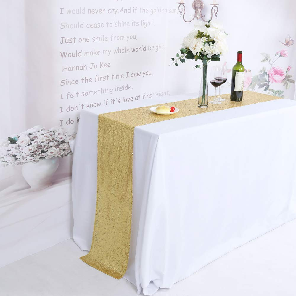 TRLYC Pack of 5 Sequin Table Runners 12 by 120 Inch Glitter Gold Table Runners-Gold Event Party Supplies Fabric Decorations For Wedding Birthday Baby Shower