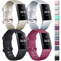Vancle Silicone Bands Compatible with Fitbit Charge 4 / Fitbit Charge 3 Bands for Women Men, Rose Gold Silver Sport Wristbands for Fitbit Charge 4 / Fitbit Charge 3/Fitbit Charge 3 SE