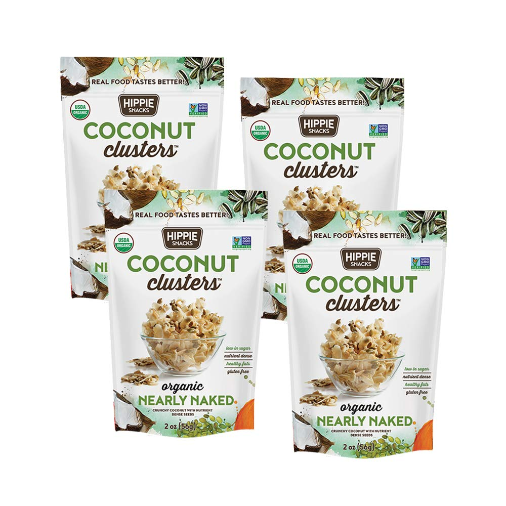 Hippie Snacks Coconut Clusters, Nearly Naked, 2oz (Pack of 4)